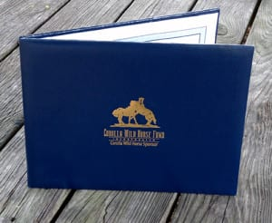 Leatherette Sponsorship Folder with gold embossed CWHF logo.